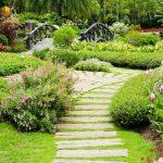 Сад с небольшим деревянным мостиком