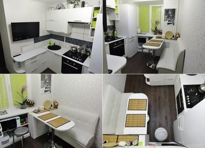 Маленькая кухня в черно-белых тонах