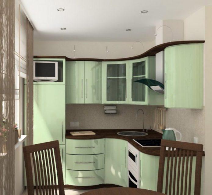 Маленькая кухня с глянцевой мебелью