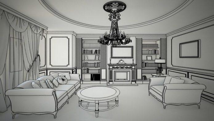 Интерьер гостиной на рисунке