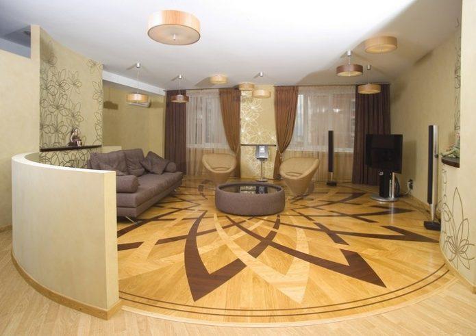 Гостиная с рисунком на полу