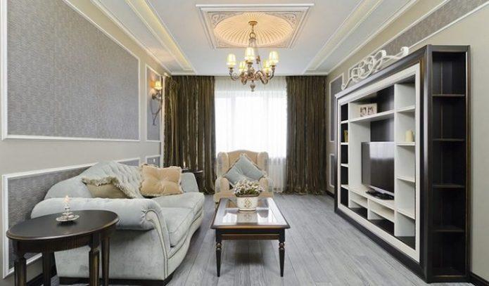 Молдинги на стенах и потолках в гостиной