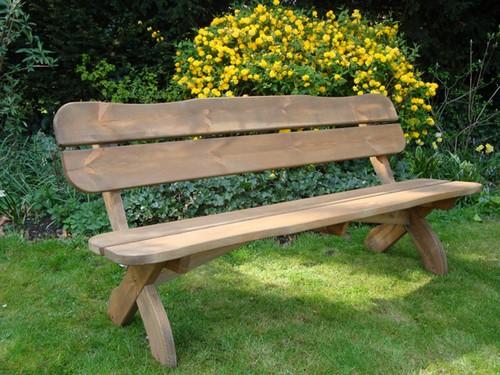 Деревянная скамейка без подлокотников со спинкой