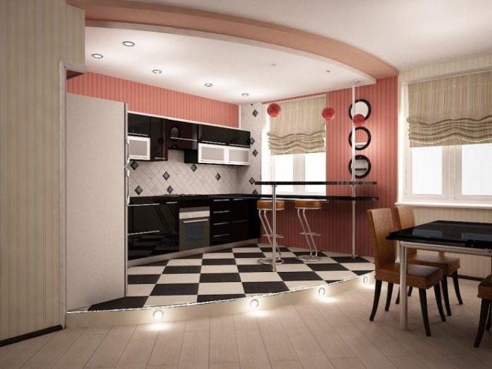 Выделение зоны кухни в квартире-студии
