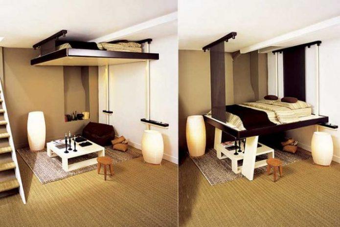 Вариант размещения кровати в квартире-студии