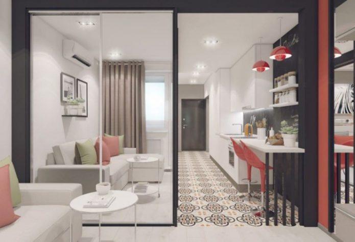 Раздвижная перегородка для зонирования в квартире-студии
