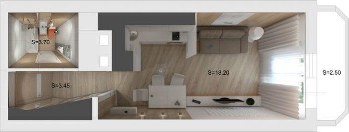 Планировка квартиры-студии с одним окном