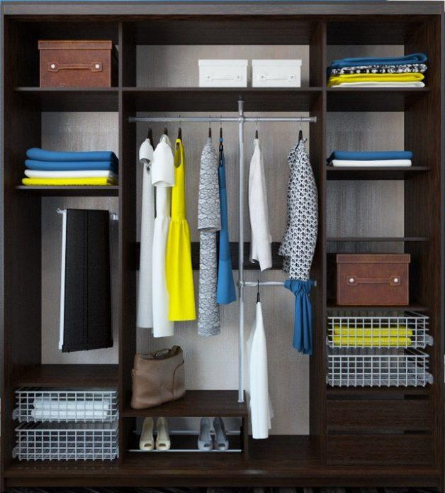 Размещение одежды и обуви в шкафу-купе