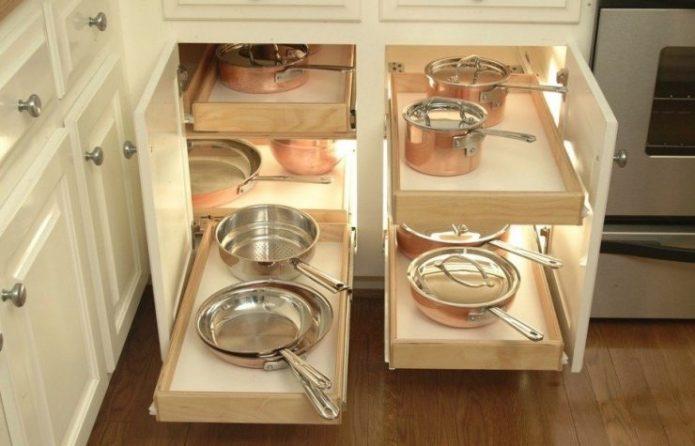 Выдвижные ящики для хранения посуды на кухне