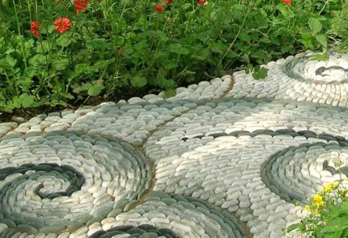 Дизайн садовой дорожки из крупной гальки