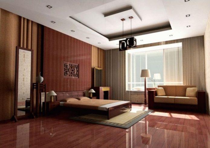 Спальня в коричневых тонах с глянцевым ламинатом
