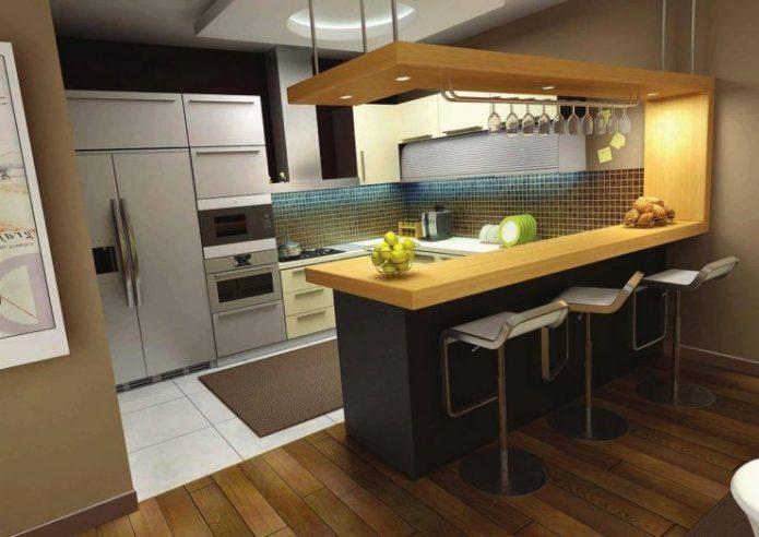 Яркая П-образная кухня с барной стойкой