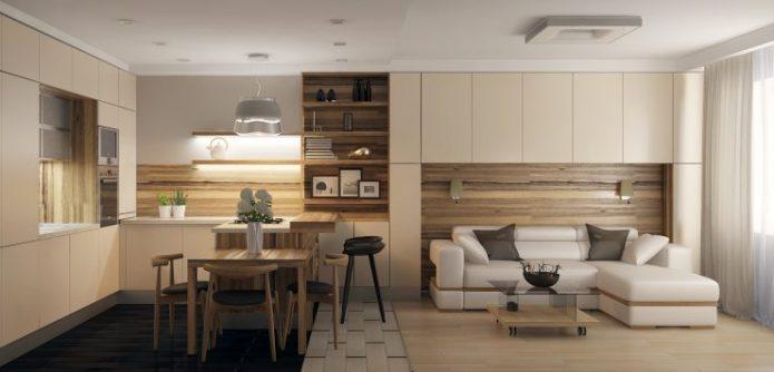 Кухня-гостиная с деревянными элементами