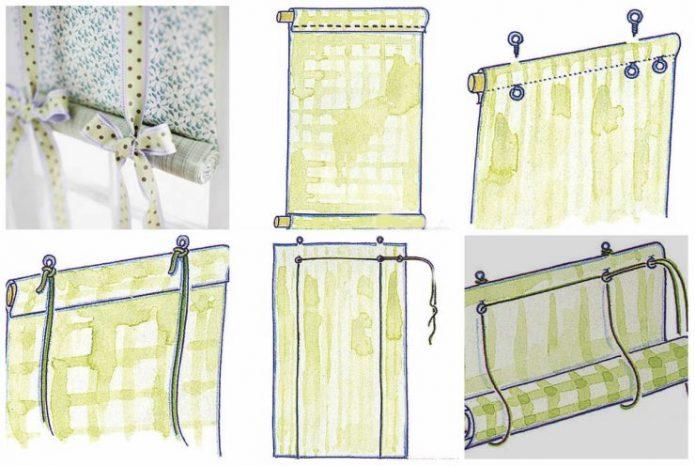 Схема изготовления тканевой рулонной шторы своими руками