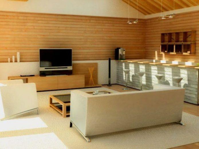 Обшивка стен ламинатом в интерьере гостиной