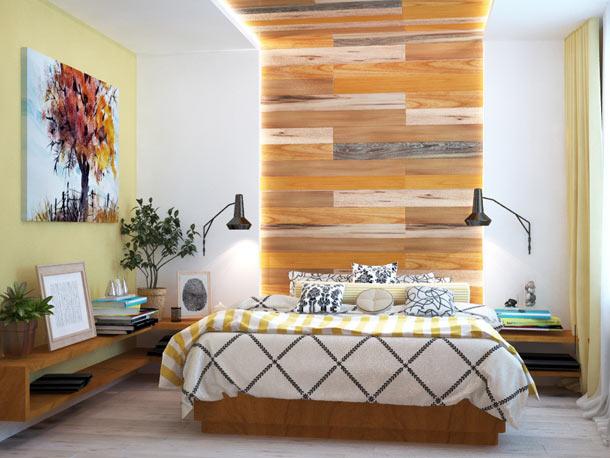 Обшивка стен и потолка ламинатом в спальне