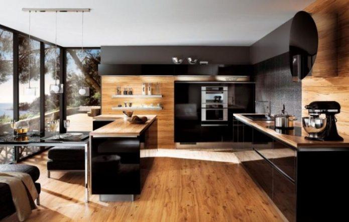 Облицовка стен ламинатом в кухне