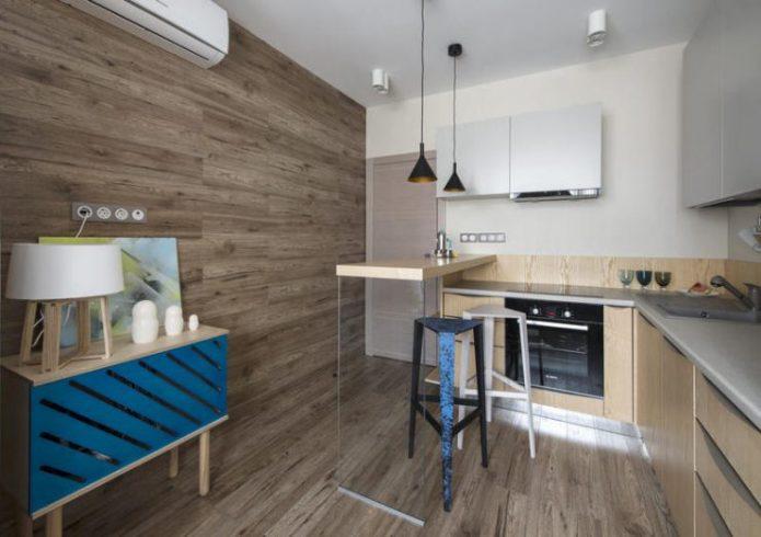 Облицовка стен ламинатом в интерьере кухни