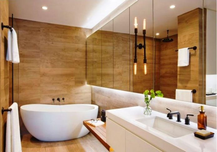 Отделка стен ванной комнаты ламинатом