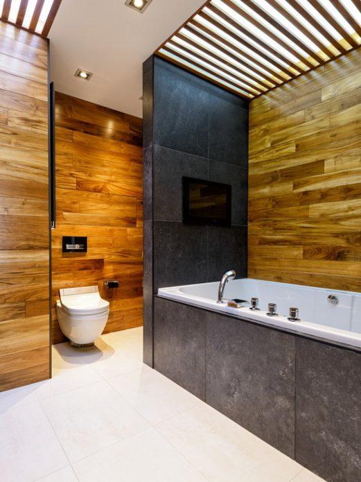 Обшивка стен ванной комнаты ламинатом