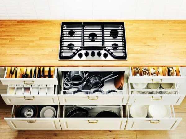 Выдвижные ящики для хранения посуды из ИКЕА