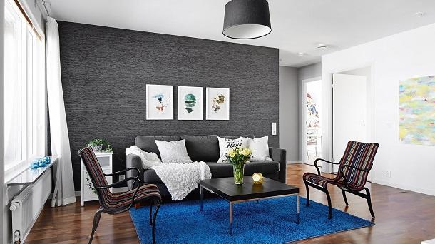 Разделение коридора и гостиной цветом