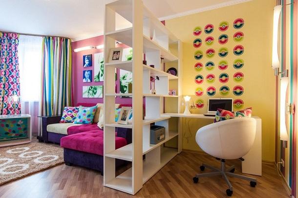 Разделение гостиной и кабинета