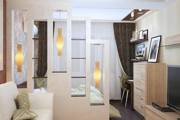 Разделение комнаты стеллажом со светильниками