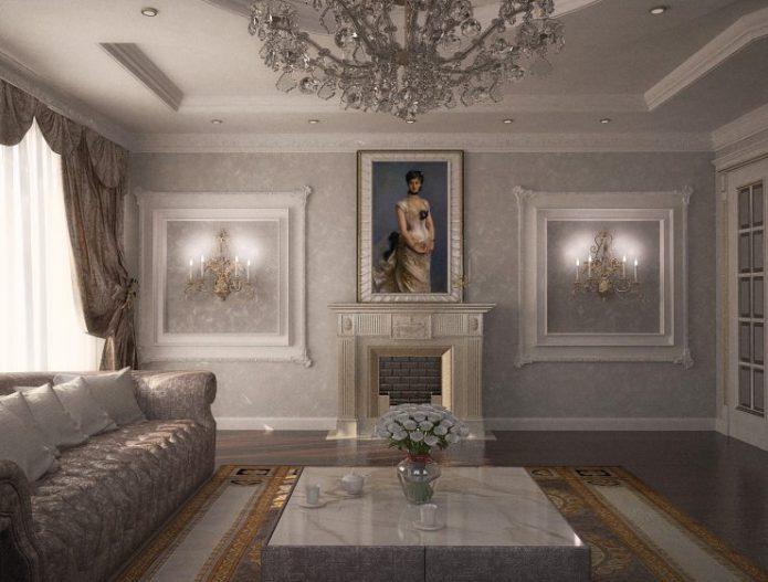 Молдинги в дизайне гостиной