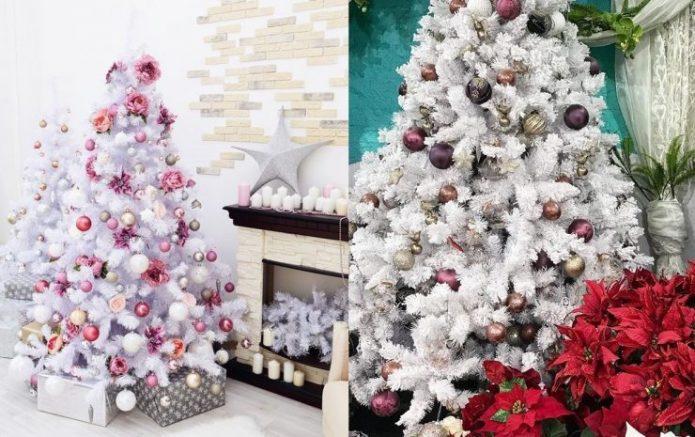 Новогодние ёлки с декоративными тропическими цветами