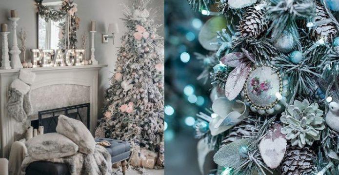 Декор для новогодней ёлки в пастельных тонах
