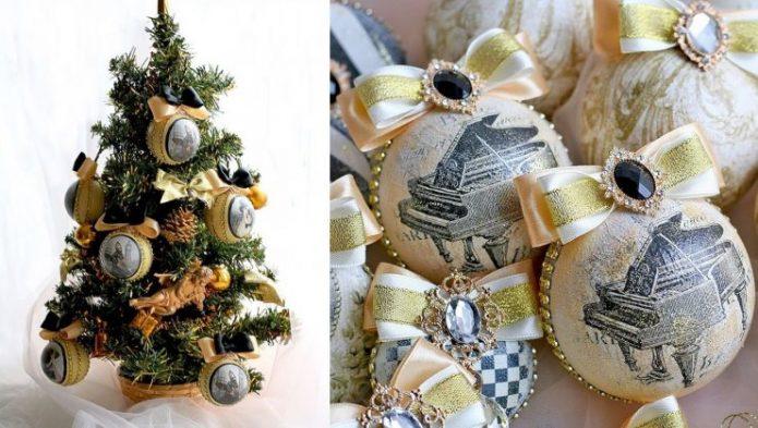 Декор для новогодней ёлки в винтажном стиле