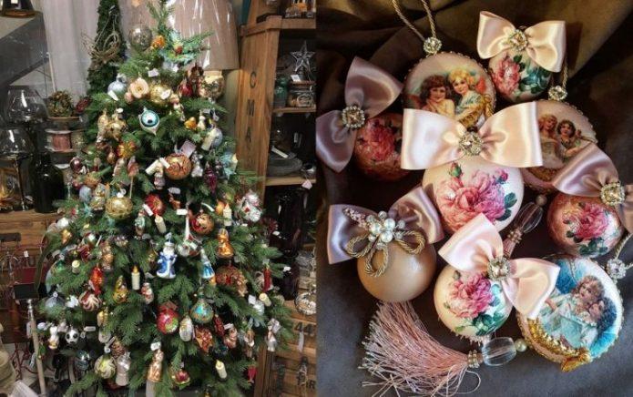 Винтажный стиль в оформлении новогодней ёлки