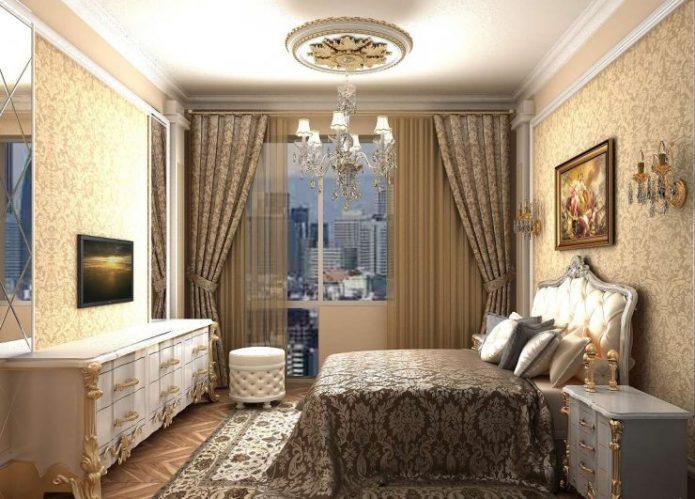 Спальня в классическом стиле в тёмных тонах