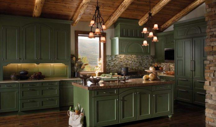 Кухня в стиле кантри зелёных оттенков