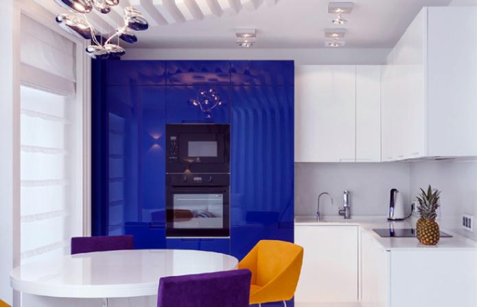 Синие акценты в стилевом решении кухни