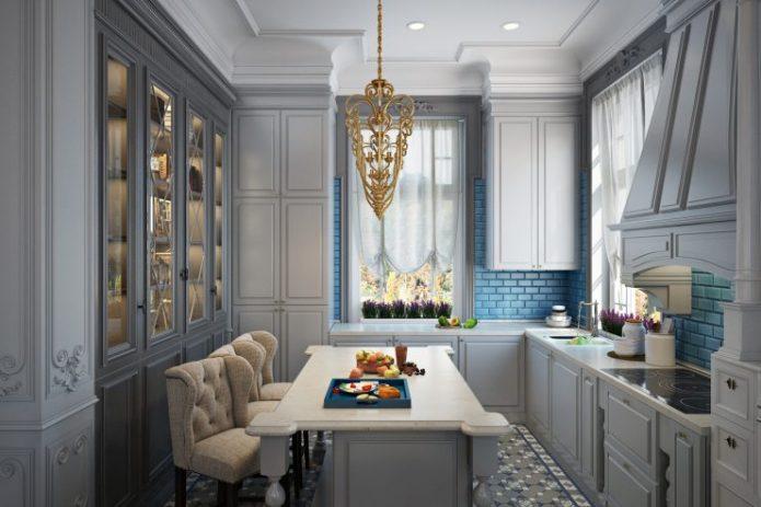 Современная классическая кухня в сером цвете