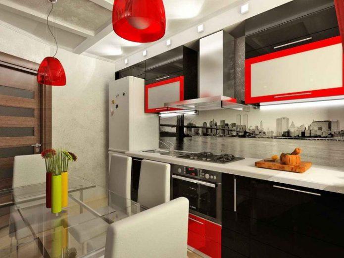 Дизайн чёрно-белой кухни с красными деталями