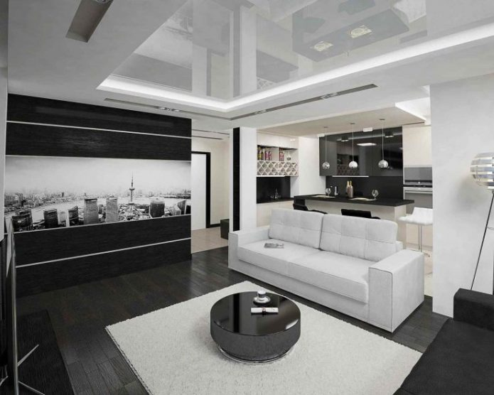 Дизайн чёрно-белой кухни-студии