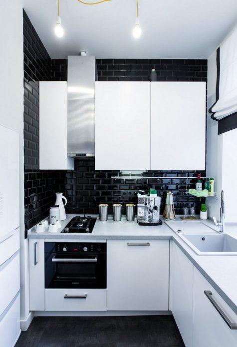 Дизайн чёрно-белой маленькой кухни