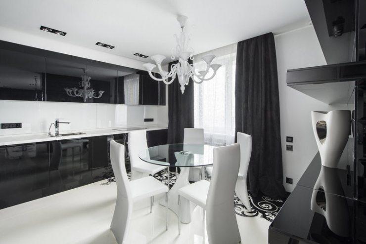 Дизайн чёрно-белой кухни: идеи для разных стилей с фото