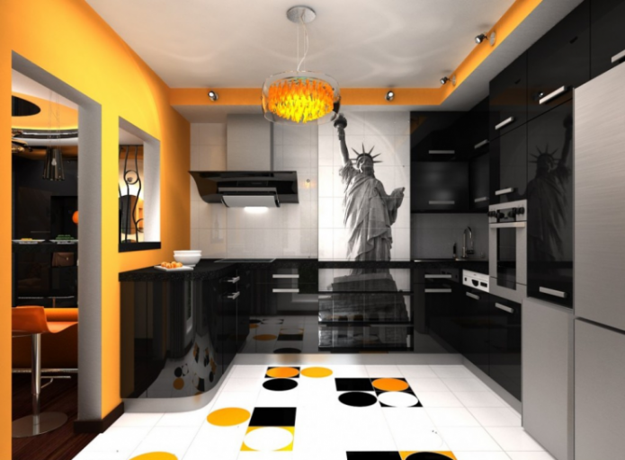 Дизайн чёрно-белой кухни с оранжевыми деталями