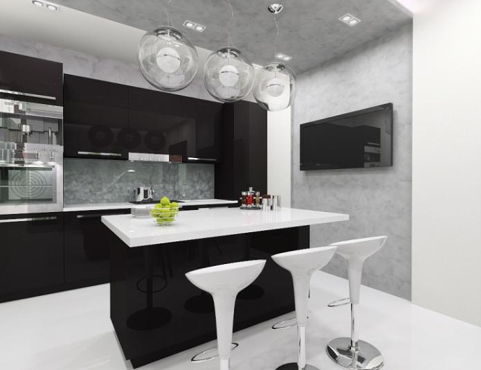 Дизайн чёрно-белой кухни с островом