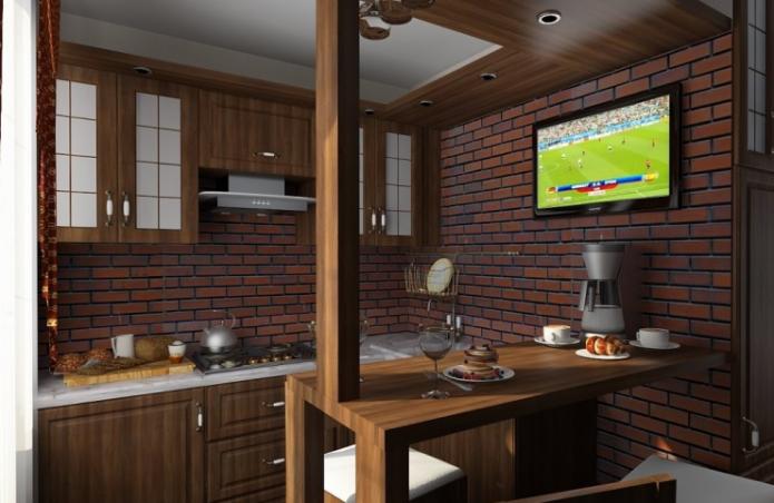 Кухня в стиле лофт площадью 9 квадратных метров