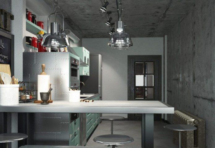 Большая кухня 12 квадратных метров в стиле лофт