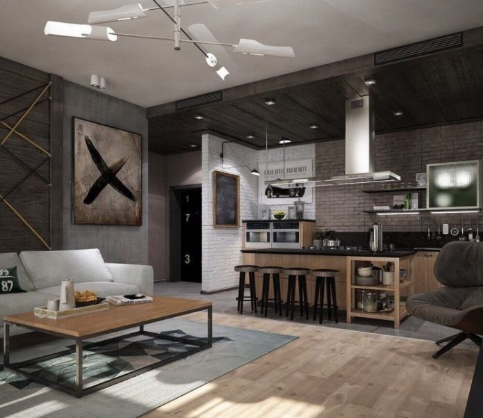 Кухня в стиле лофт в тёмной гамме
