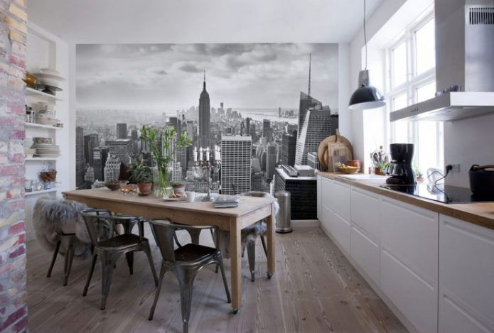 Фотообои для чёрно-белой кухни